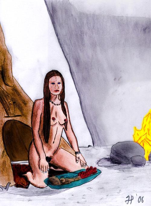 squaw, zeichnen, bleistift, kunst, malen, zelt, feuer, frau
